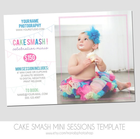Cake smash mini session flyer photography marketing template for Free mini session templates for photography