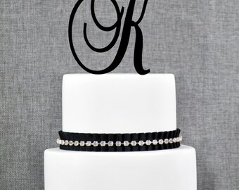 Personalized Monogram Initial Wedding Cake Toppers -Letter K, Custom Monogram Cake Toppers, Unique Cake Toppers, Traditional Initial Toppers