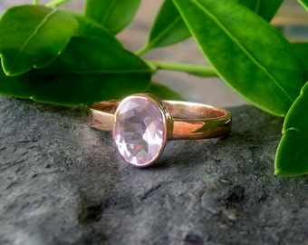 Pink Morganite 14K Yellow Gold Gemstone Ring, low profile, non traditional engagement, Ready to Ship, size 6