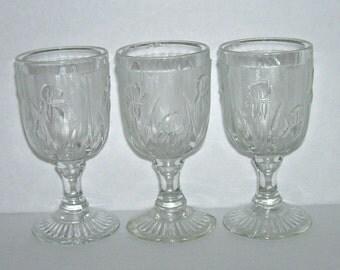 3 Jeannette Iris and Herringbone Glass Wine Goblets