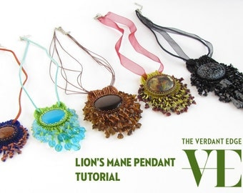 Lion's Mane Pendant Necklace Tutorial/Pattern: Introduction to bead embroidery with fringe stitch embellishment, versatile, customizable