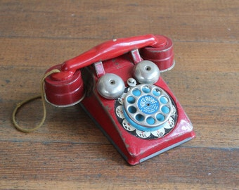 Vintage Red Toy Phone (Voice Phone - The Gong Bell Mfg. Co., East Hampton Conn.)