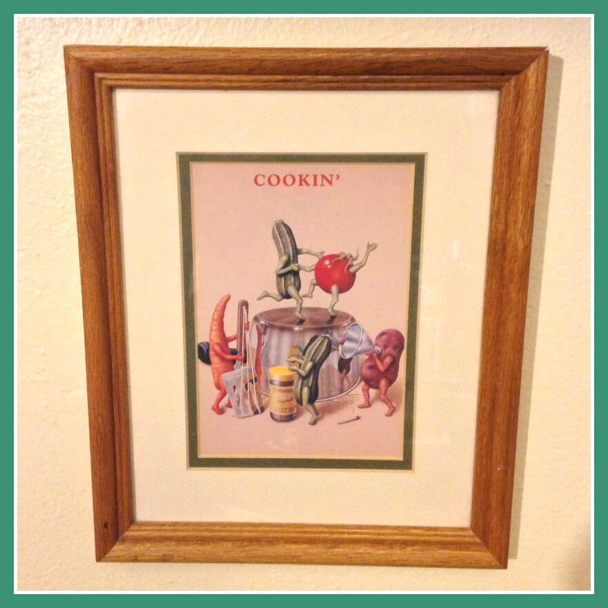 Retro Kitchen Artwork: Cookin' Framed Vintage Print/Kitchen Art Featuring Dancing