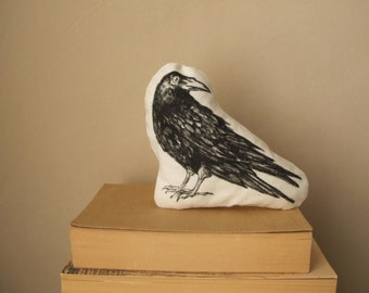 black crow raven faux taxidermy bird halloween decor animal totem hand painted soft toy plush gothic surreal vegan vegetarian gift idea