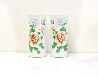 Pair of Flower Chinese Capstand Vases with Rust and Blue Chrystanthemums