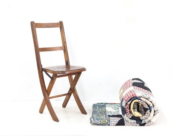 English Folding Childs Chair with Star Cut Out