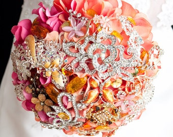 "Fall Wedding Brooch Bouquet. Deposit ""Sunset Dunes"" Jewelry Burnt Orange Fall Wedding Bouquet. Bridal Broach Bouquet - Ruby Blooms Weddings"