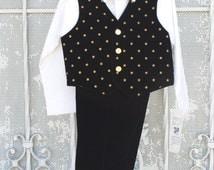 Black Velvet Suit Boy Sizes 6, 7 Vintage new with tags, Gold Stars, Gold Polka Dots, Gold Bow Tie,Velvet Vest,Winter Festive Holiday Wear