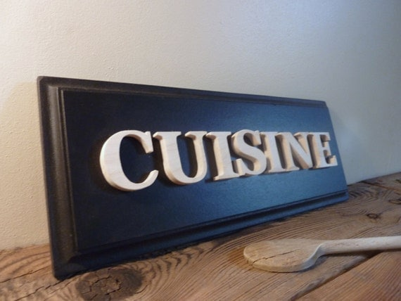 Kitchen door plaque black kitchen sign with french for Plaque bois cuisine