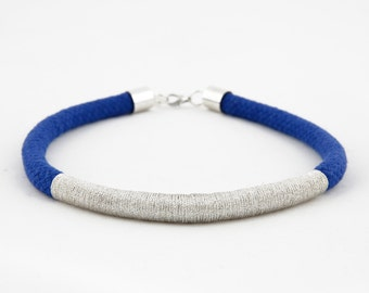 Blue and silver wrap rope choker necklace