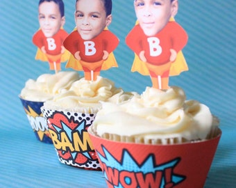 SUPERHERO Cup Cake Wrap---- Printable PDF