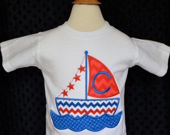 Personalized Sailboat Applique Shirt or Onesie Boy or Girl