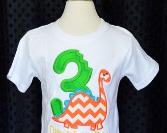 Personalized Birthday Dinosaur Applique Shirt or Onesie Girl or Boy