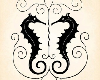 Seahorse Sea Horse Gate Flourish Vintage Printable Image INSTANT Download Digital Antique Clip Art Transfer Art Print jpg jpeg png V115