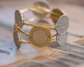 Foreign Coin Wire Wrapped Gold Bangle Bracelet