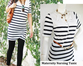 NIKKI Maternity Clothing / Nursing Top Shirt / Breastfeeding Tunic / Nursing Clothes / NEW Nautical / Nursing Tops/ Free Shipping