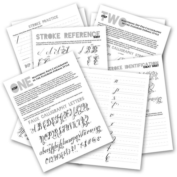 printable calligraphy worksheets   flourish formal style