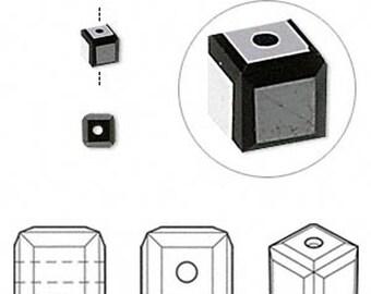 5601 Swarovski Cube Bead - 6 MM - Jet Black - 10 PCS - Vintage swarovski Cubes - Wholesale Pricing - Lowest Pricing, Ships From USA fast !