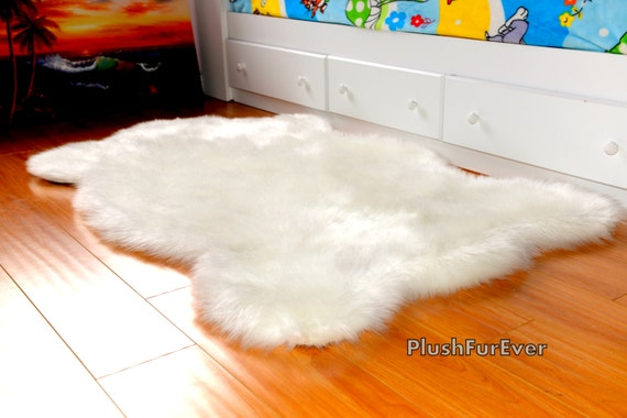 White Faux Fur Rug by PlushFurEver