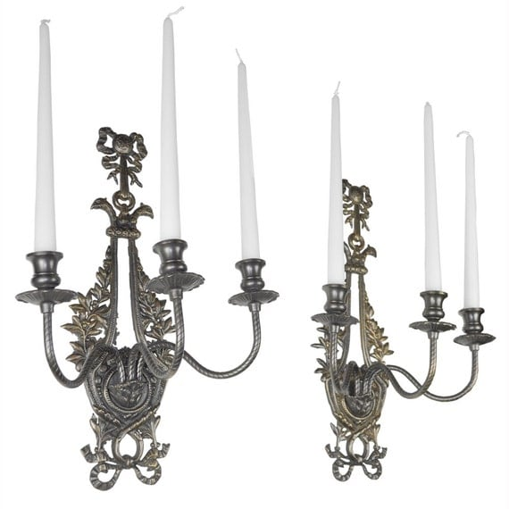 Antique Candle Wall Sconces Brackets Neo Rococo by DecoLighting