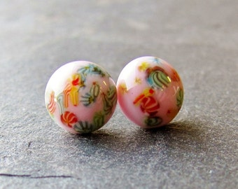 Vintage Glass Post Earrings - Pink with Multicolored Millefiori Speckles