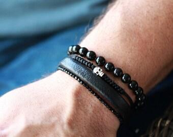 Mens SKULL Watchanish Bracelet - Skull Bracelet - Mens Stone Skull Bracelet