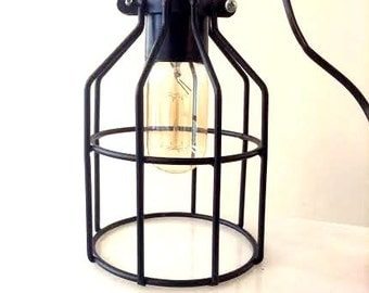 Cage table lamp industrial metal minimal table lamp light
