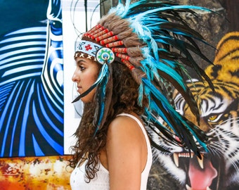 The Original - Real Feather Light Blue Chief Indian Headdress Replica 75cm, Native American Style Costume Hand Made War Bonnet Hat