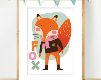 Scandinavian Inspired 'Fox' A3 print, Animal Nursery Art, illustration of a super cute Fox in orange, pink and mint