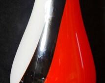Vintage Art Glass Vase,  White Black Red Art Glass Vase. Cased Glass Vase With Gentle Swirl, Vintage Art Glass Vase
