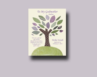 Godmother gift - Godparent Gift - Personalized gift for Godmother - Gift from Godchild - Godmother Keepsake, Godmother Christening  - TREE