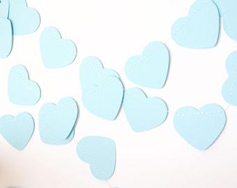 Pastel blue paper garland bunting, wedding garland decor, heart garland, party home decor, nursery banner