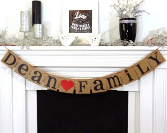 Personalized Family Sign / Last Name - Family Banner / Rustic / Family Reunion Photo Prop / Fireplace Decor / Housewarming