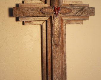 "Wall Cross from salvaged wood - 24"" Oklahoma Tornado Storm Debris"