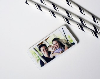 Set of 6, Magnet Photo Personalized Mini in Poplar Wood of your baby, Mother's day, family great gift for grandparents, Christmas