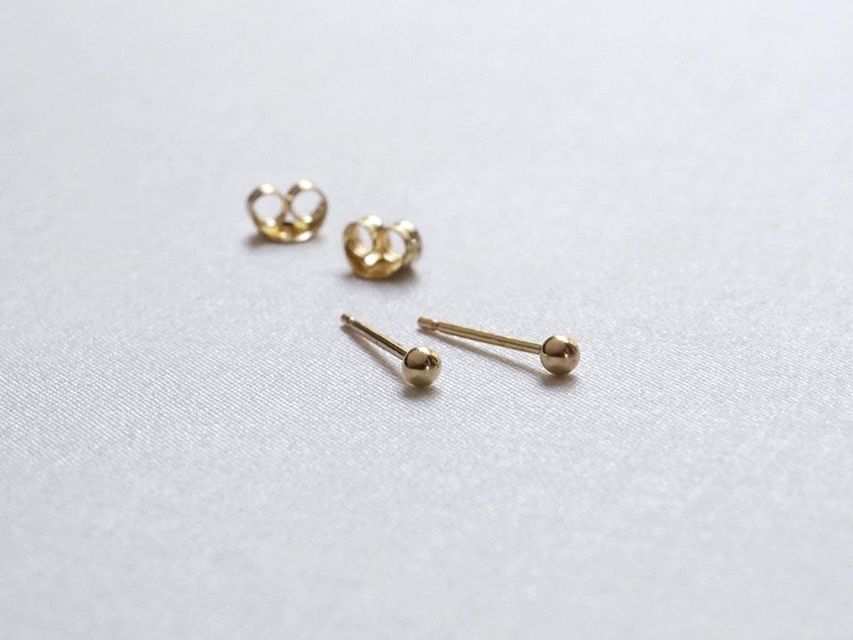 tiny gold stud earrings 2mm 14k gold filled dot studs gift