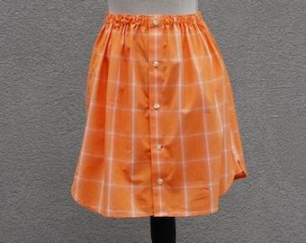Shirt Skirt Girls size 8, Upcycled Shirt Skirt, Shirt Refashion, School Skirt, Eco Friendly Kids Clothing
