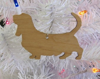 Basset Hound Ornament in Wood or Mirror Acrylic Customizable with Name