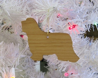 Bearded Collie Ornament in Wood or Mirror Acrylic Customizable with Name