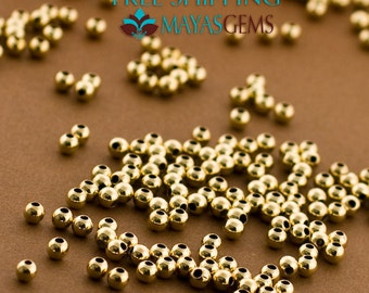 200-2mm Gold Filled Beads, Small Gold Seamless Beads, 2mm Beads, Made in Italy 14/20 14kt