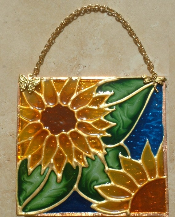 blue sunflower suncatcher