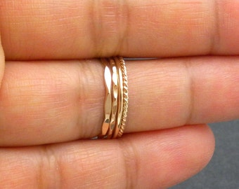 Thin Yellow 14K Gold Filled Stacking Rings - Set of 4 Different Styles Rings (18 gauge)