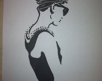 Audrey Hepburn Charcoal Drawing Print from Original Breakfast at Tiffany's Holly Golightly  No. 1