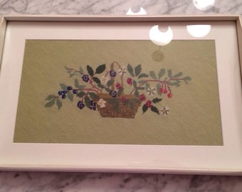 Needlepoint Tray With Basket of Berries and Flowers on Lime Green Background