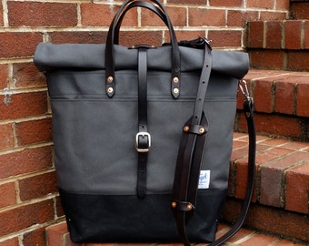 Waxed Canvas Roll Top Rucksack with Leather Straps/Handles/ Waxed Canvas Messenger-Large Gray and Black Bag Perfect for Traveling