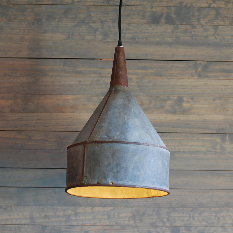 Hanging Light Galvanized: SALE Giant Upcycled Vintage Galvanized Funnel Pendant Light