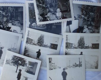 1956 Winter Snow Scenes and Christmas Black and White Photos, Cute Children