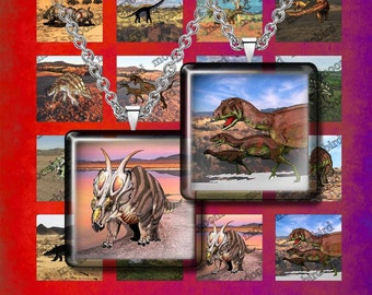 """DINOSAURS- Digital Collage Sheet – 1"""" & 1.5"""" sizes– Printable Download for Pendants, Earrings, Charms"""