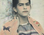 "Fine Art Photography -""Frida's Child"" Portrait Photography, Mexican Dress, Strong Eyes, Frida Kahlo Eyebrows,5x7. 8x10, 16 x 20"