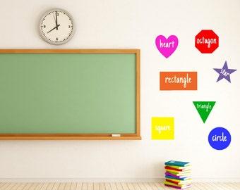 Shapes - Teacher vinyl decal Classroom - Classroom Decor - Wall Decal - Wall Art- Colors - Shapes - Elementary School - Teacher Decorations
